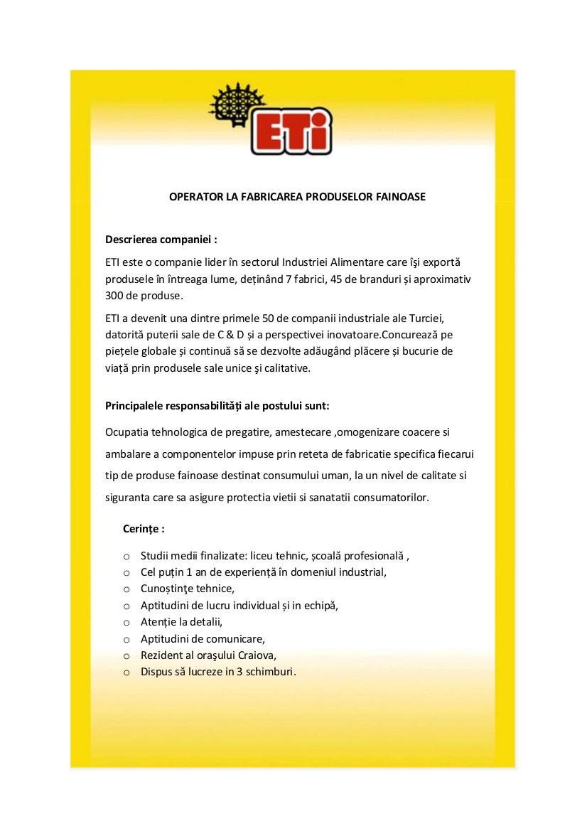 Operator la Fabricarea Produselor Fainoase _JD Best Jobs