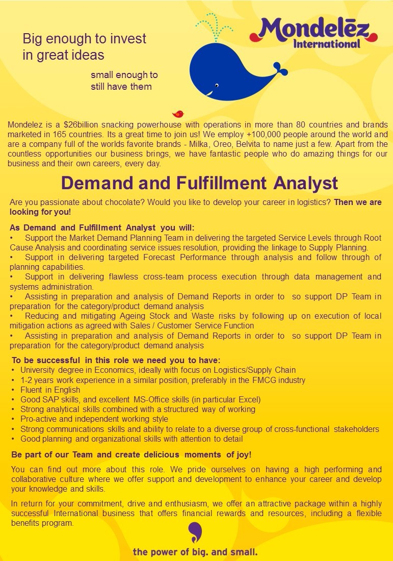 Demand and Fulfillment Analyst job ad