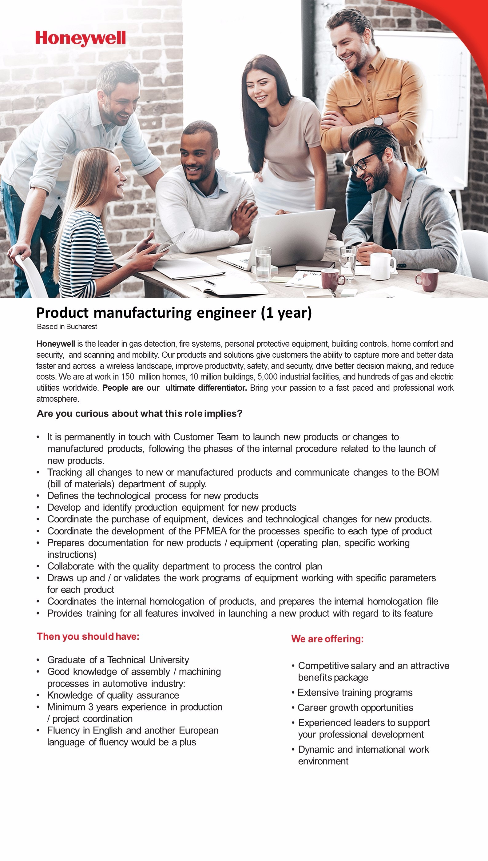 Product manufacturing engineer (1 year