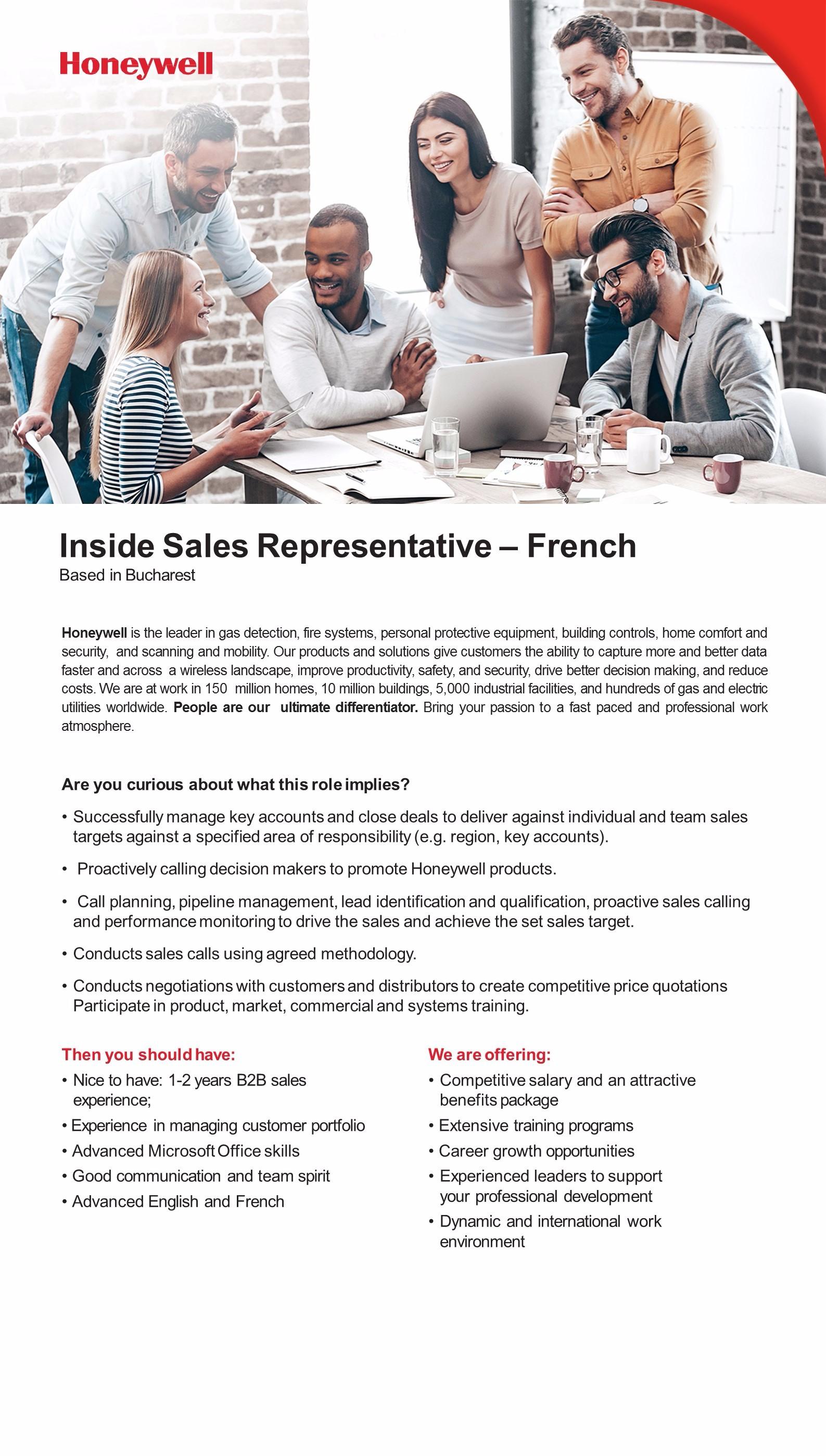 Inside Sales Representative - French JD