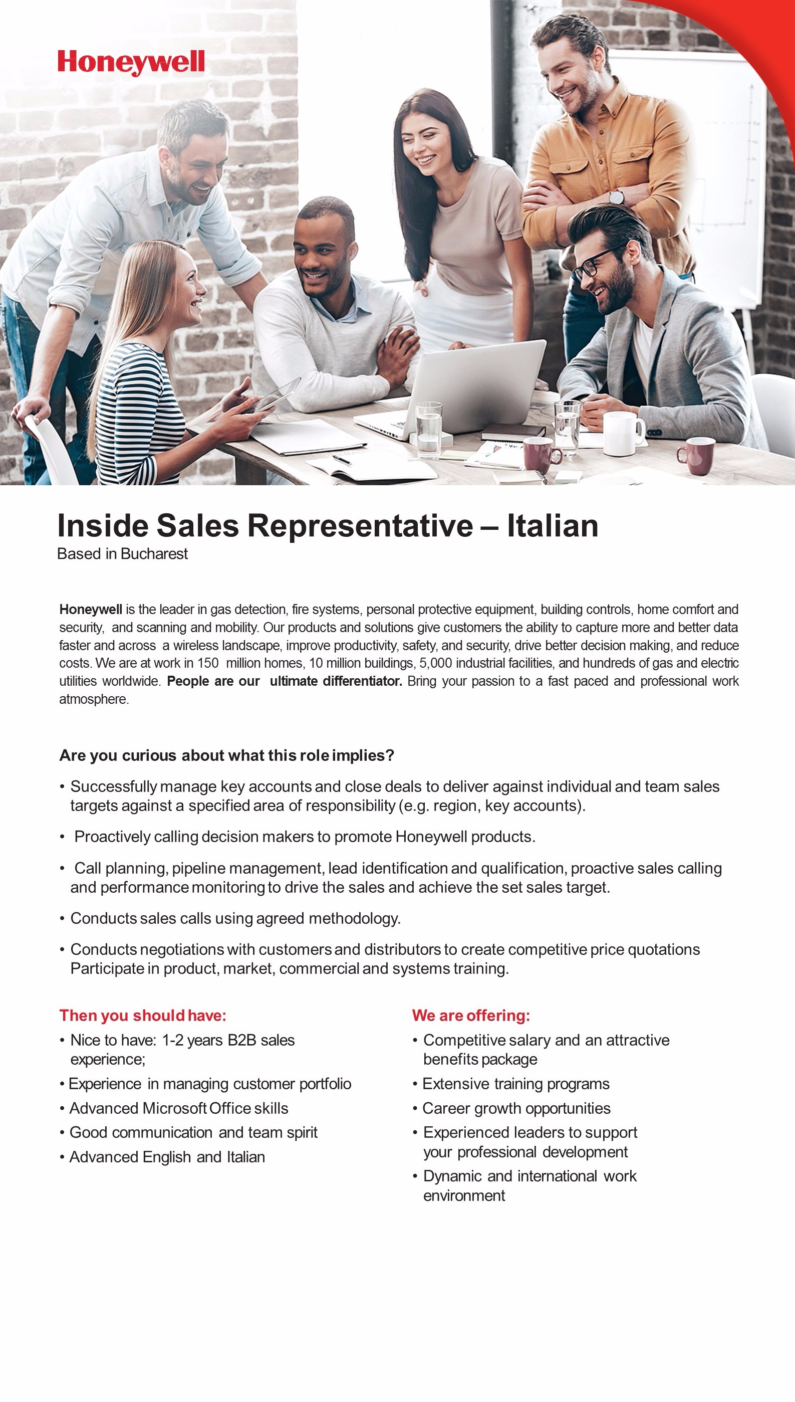 Inside Sales REPRESENTATIVE iTALIAN JD