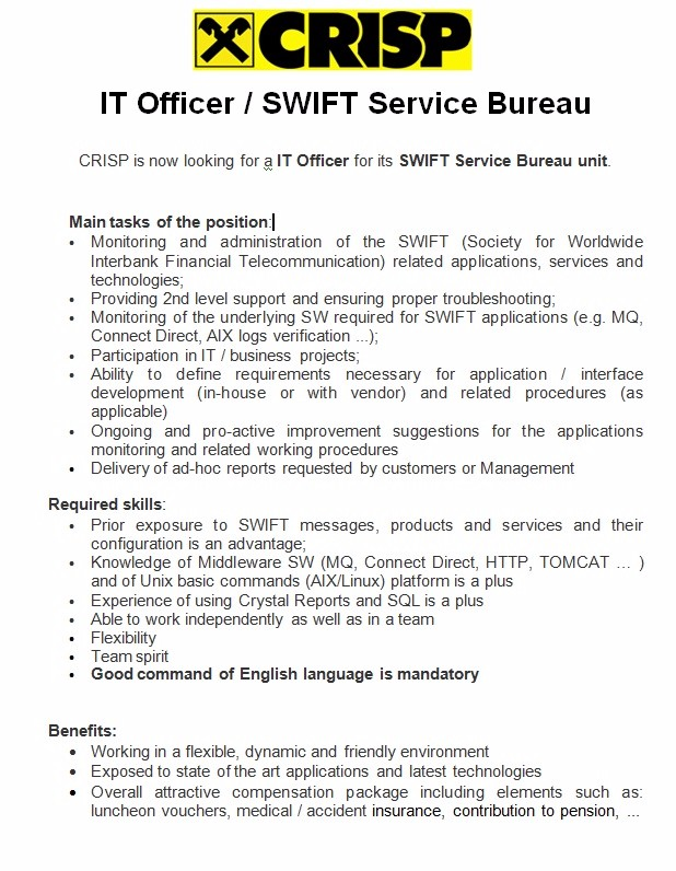 IT Officer - SWIFT Service
