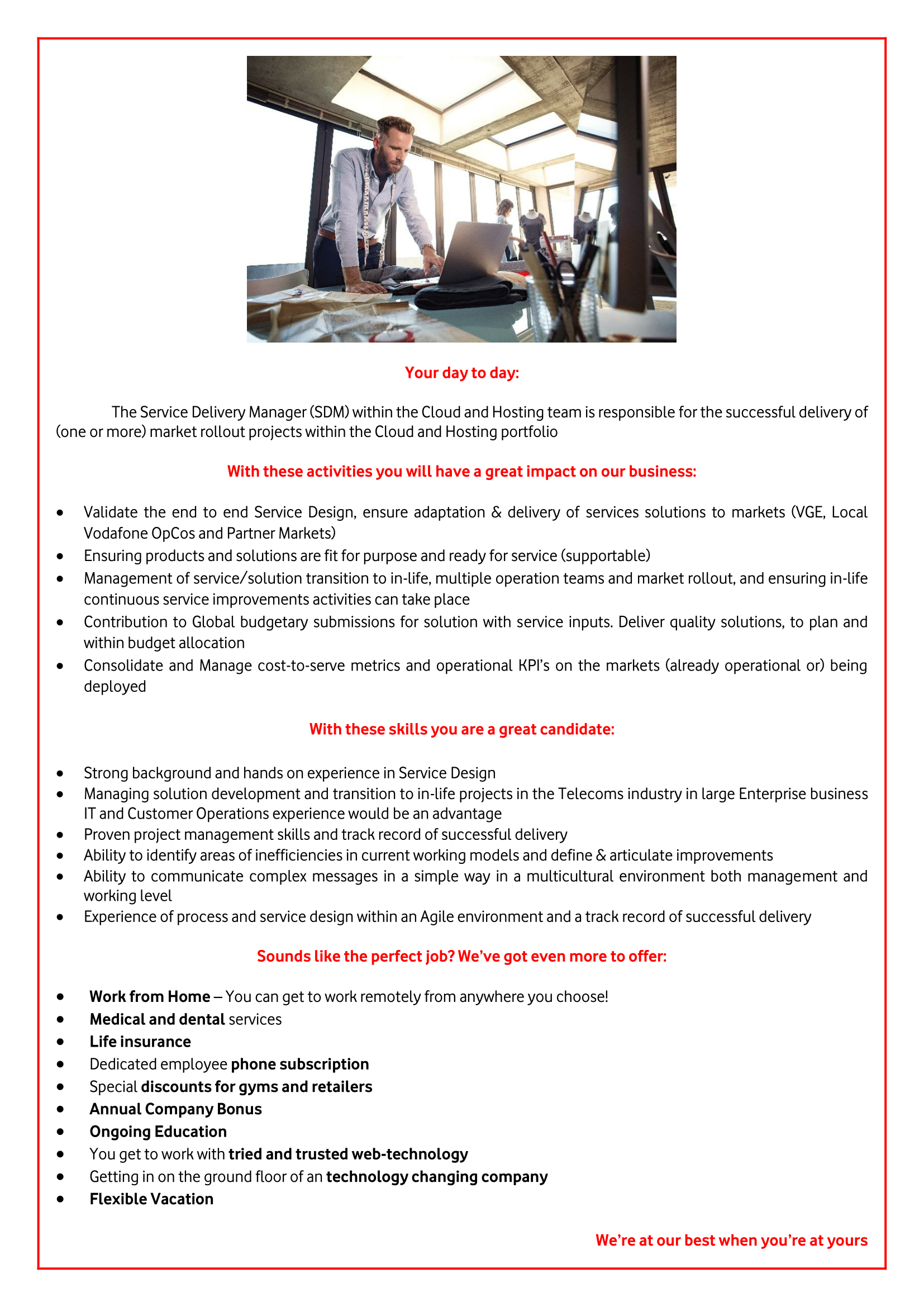 Service Delivery Manager, C&H-1
