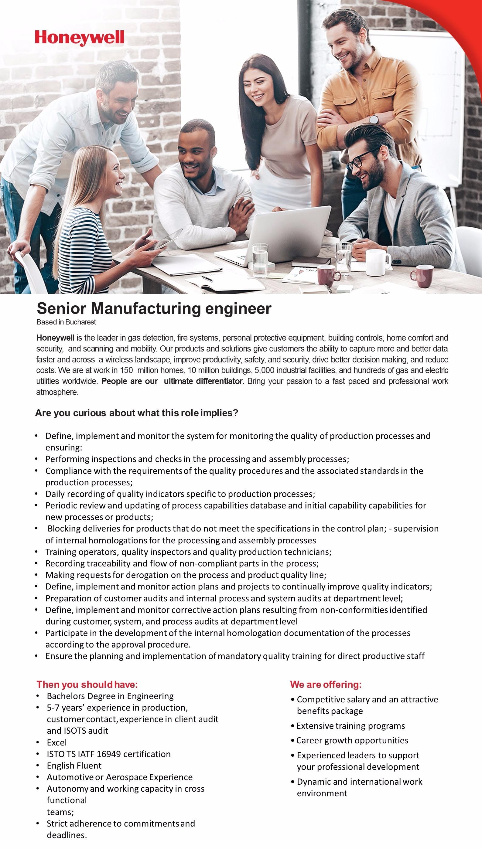 Senior Manufacturing engineer