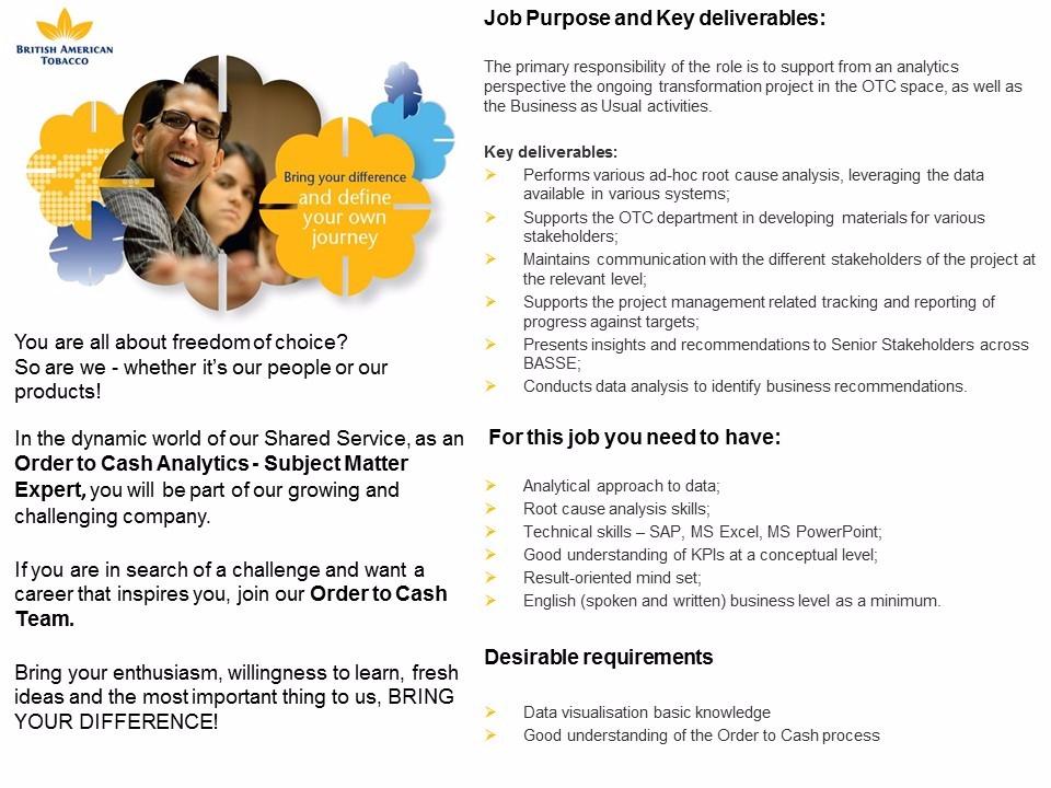 OTC- Senior Analyst Order to Cash SME
