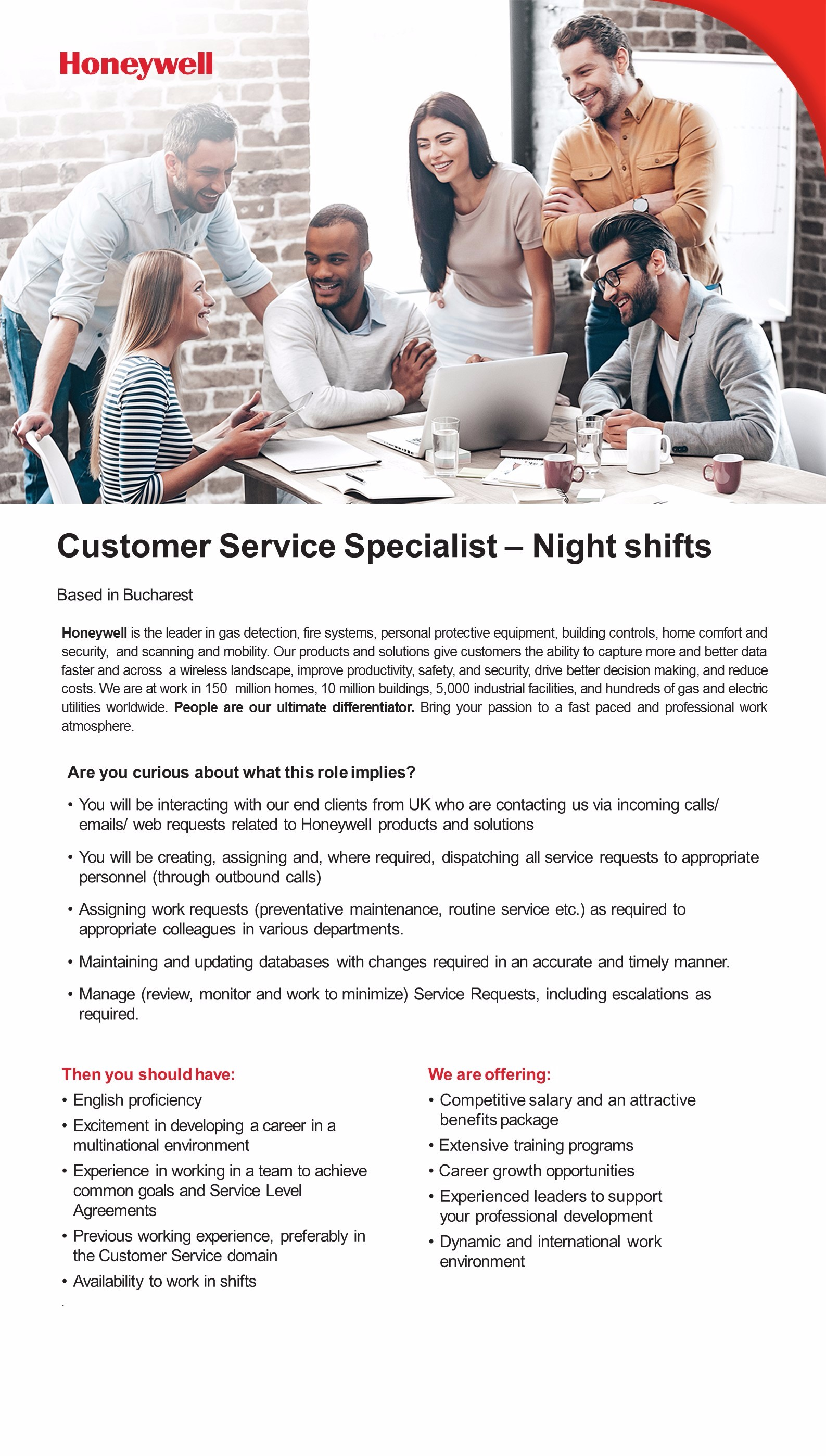 Customer Service Specialist – Night shifts
