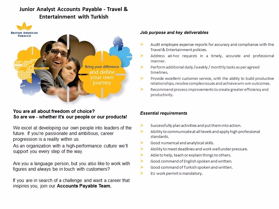 Junior Analyst Accounts Payable with Turkish