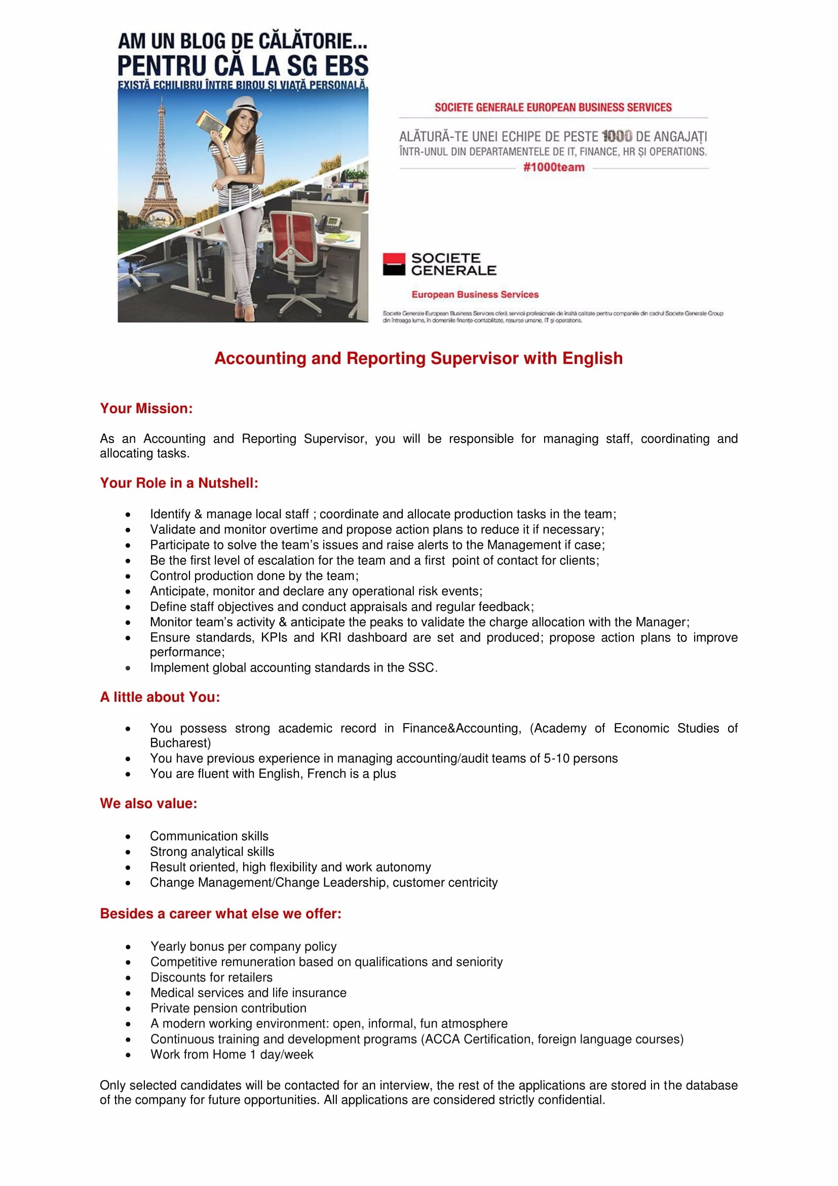 Accounting and Reporting Supervisor with English-1
