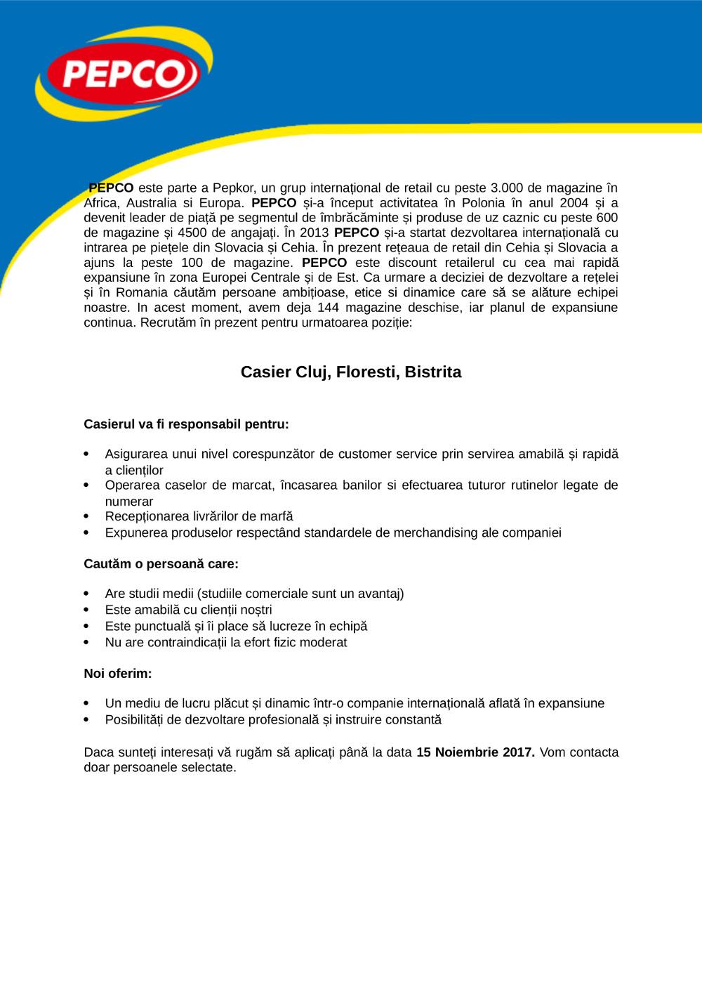 Casier Cluj, Floresti, Bistrita