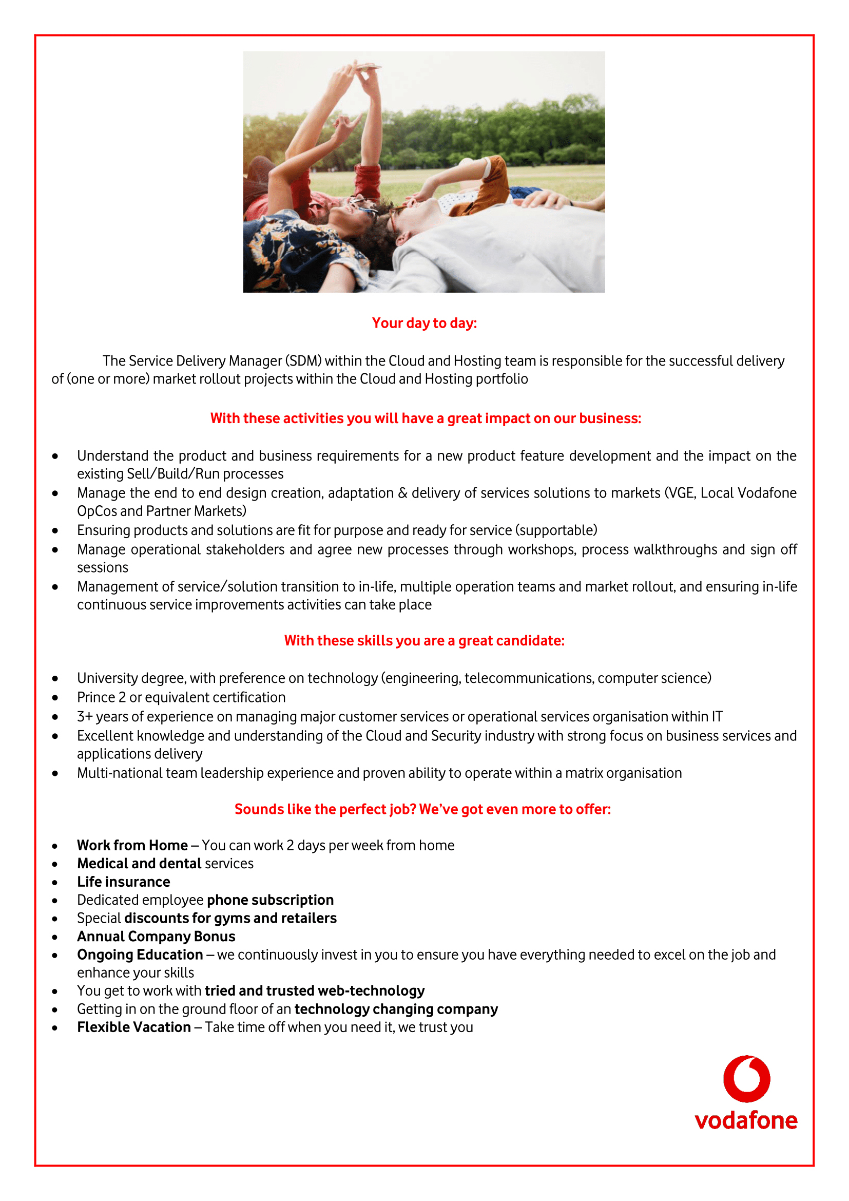 Service Delivery Manager, C&H -1