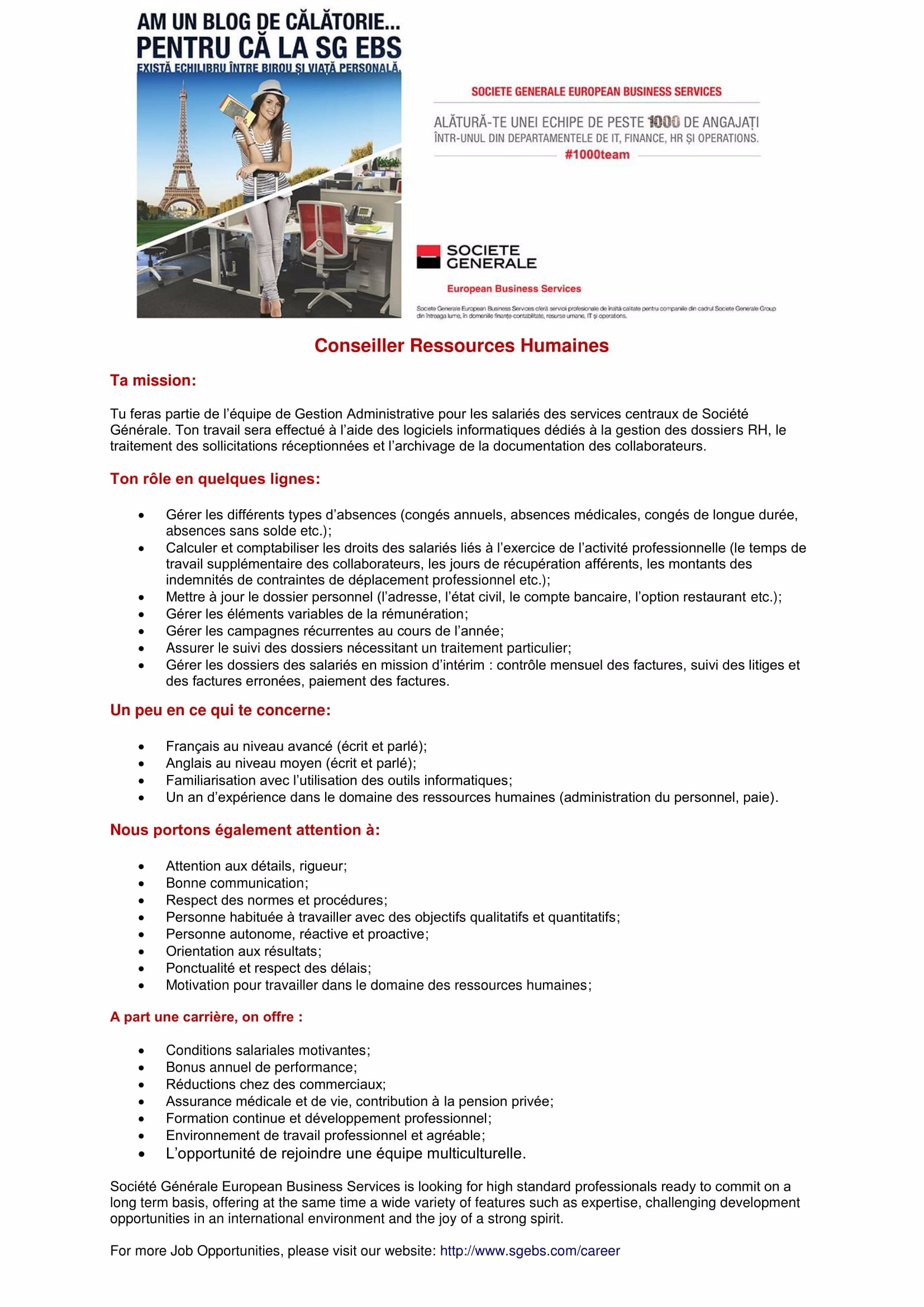 Conseiller Resources Humaines