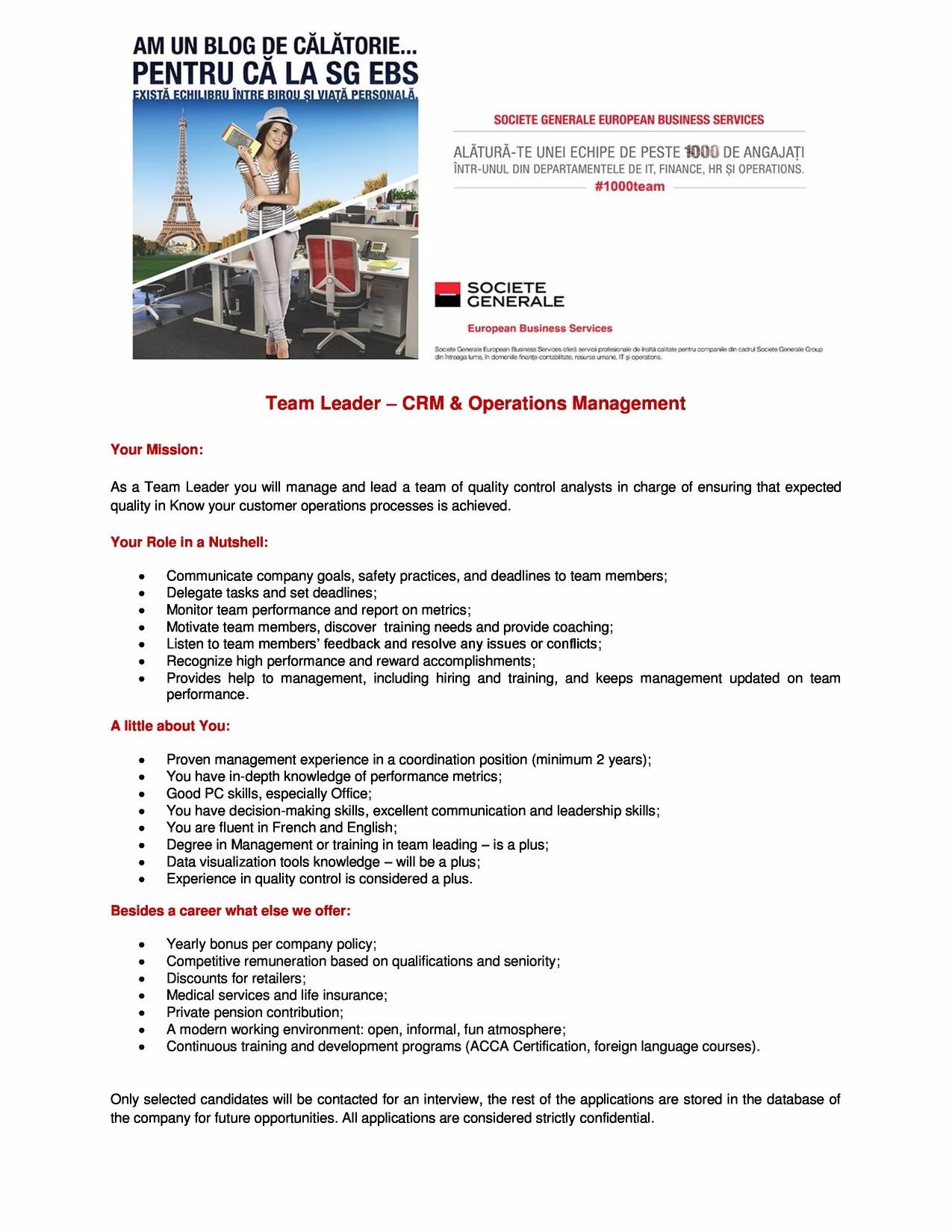 Team Leader  – CRM & Operations Management