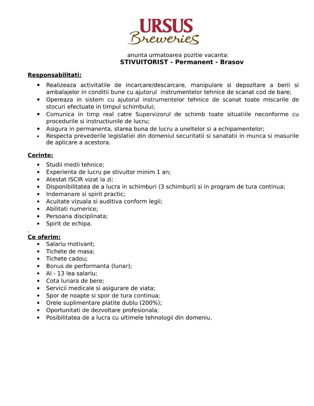 Stivuitorist - Brasov - permanent
