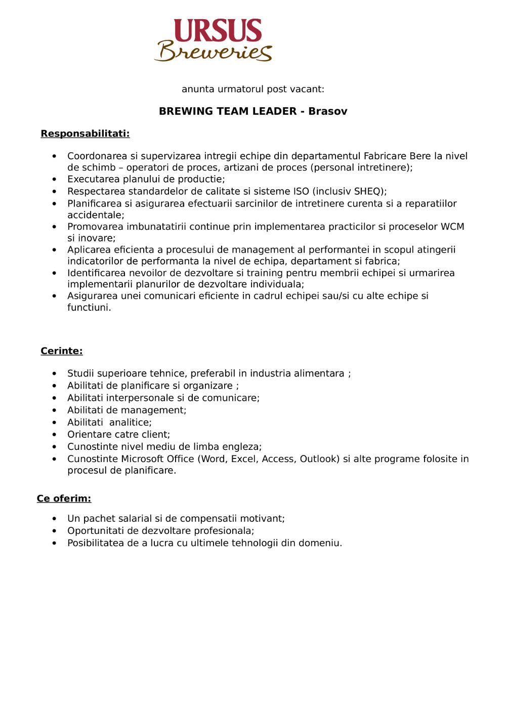 Team Leader Fabricare Bere - Brasov - permanent
