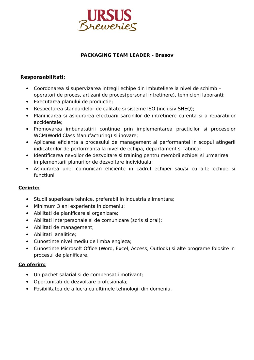 Team Leader Imbuteliere - Brasov - permanent