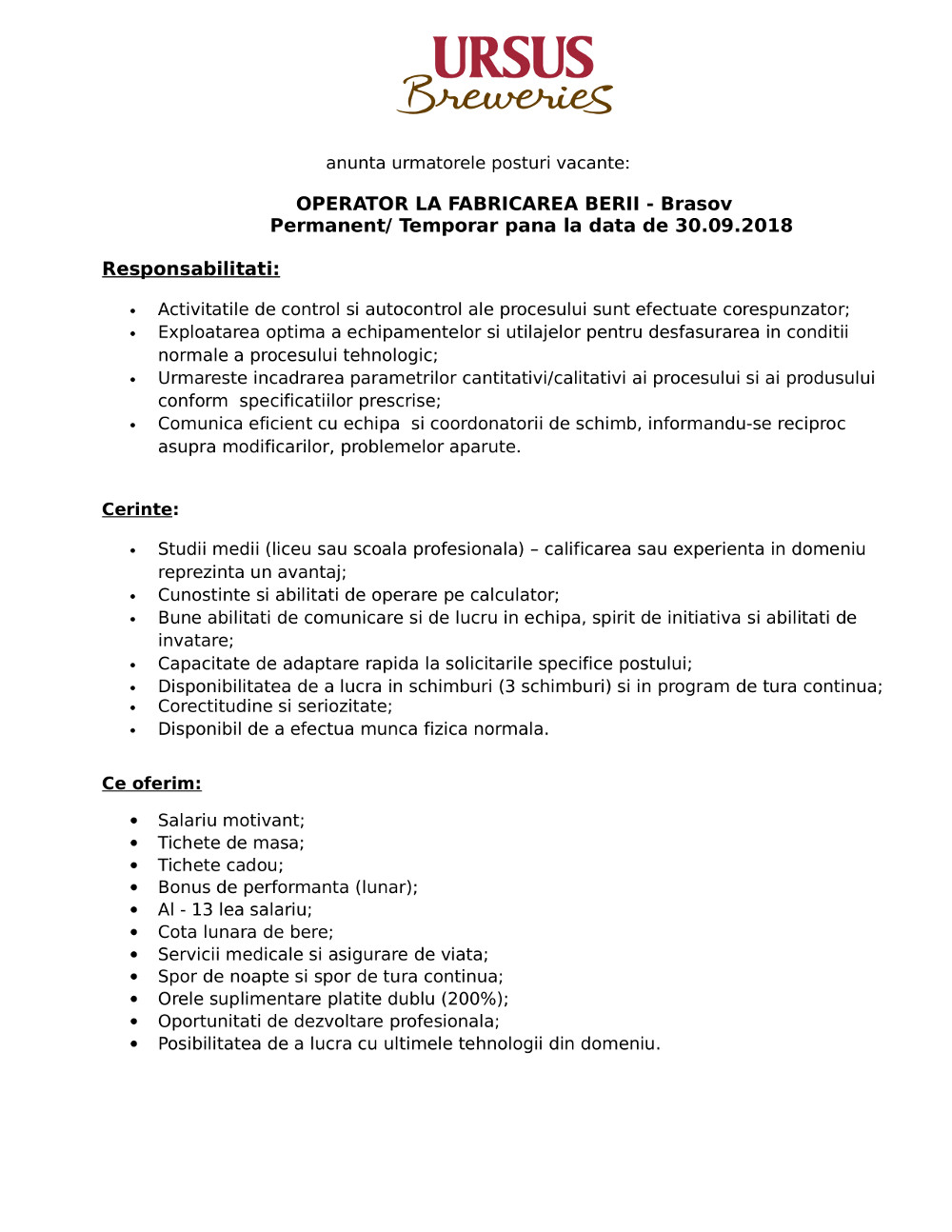 Operator la Fabricarea Berii - Brasov - permanent - temporar