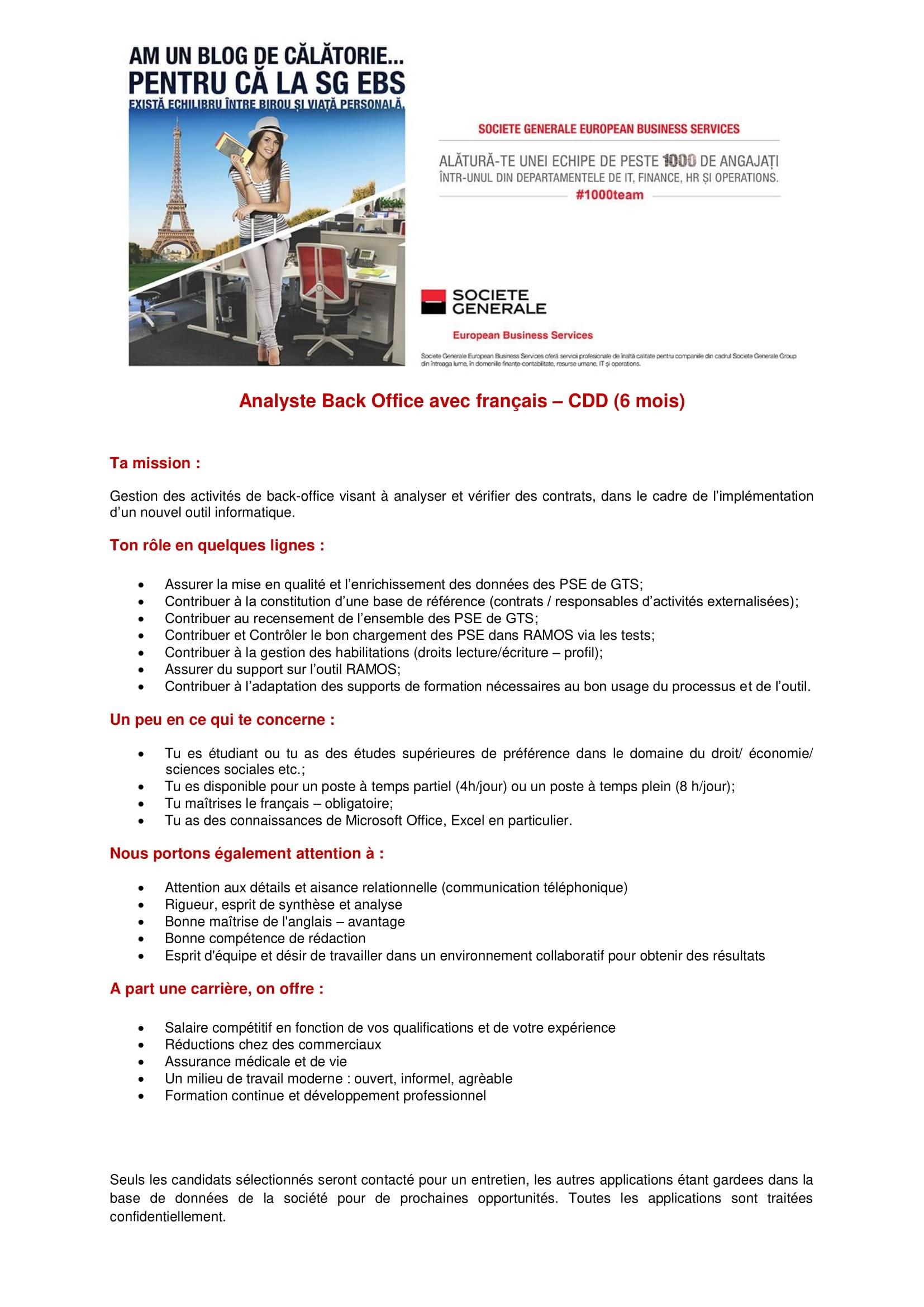 Analyste Back Office avec français – CDD (6 mois) - site - uri-1
