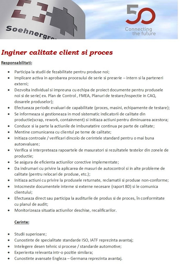 Inginer calitate client si proces