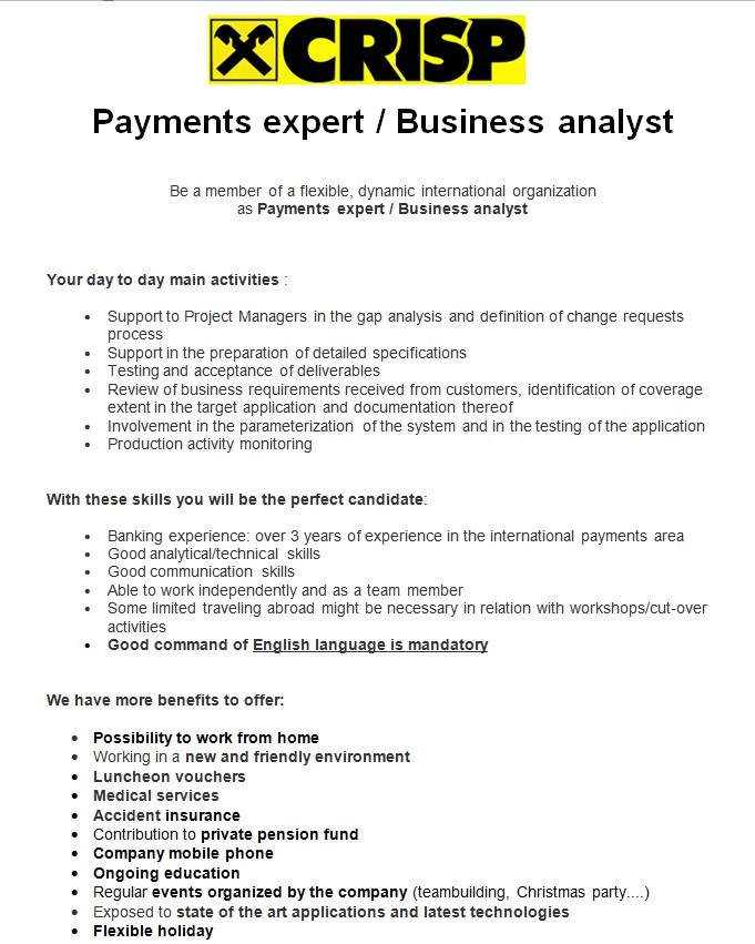 Payments expert / Business analyst