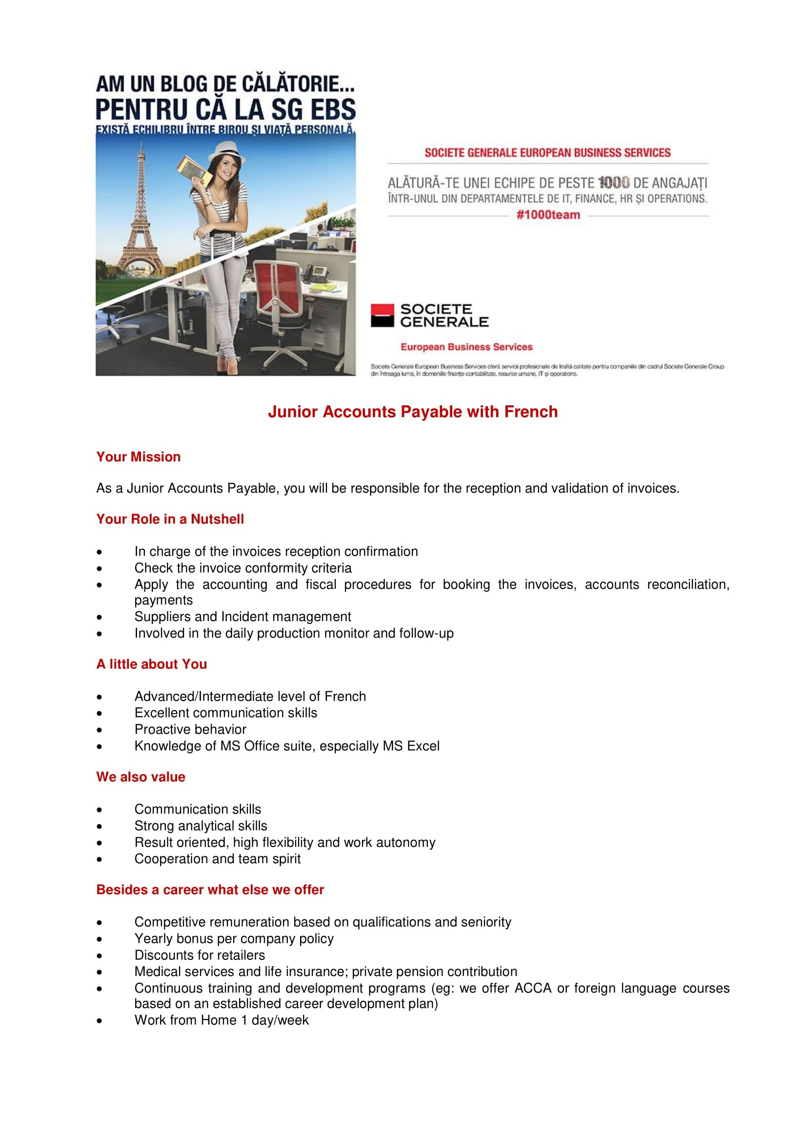 Junior Accounts Payable with French - foto