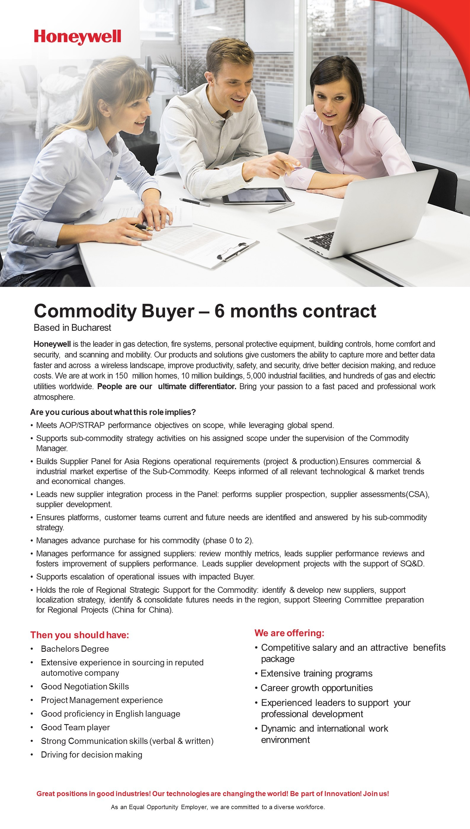 Commodity buyer 6 months contract
