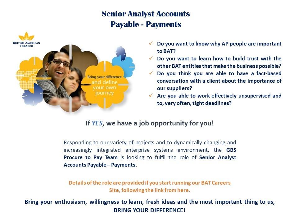 Senior Analyst Accounts Payable - Payments