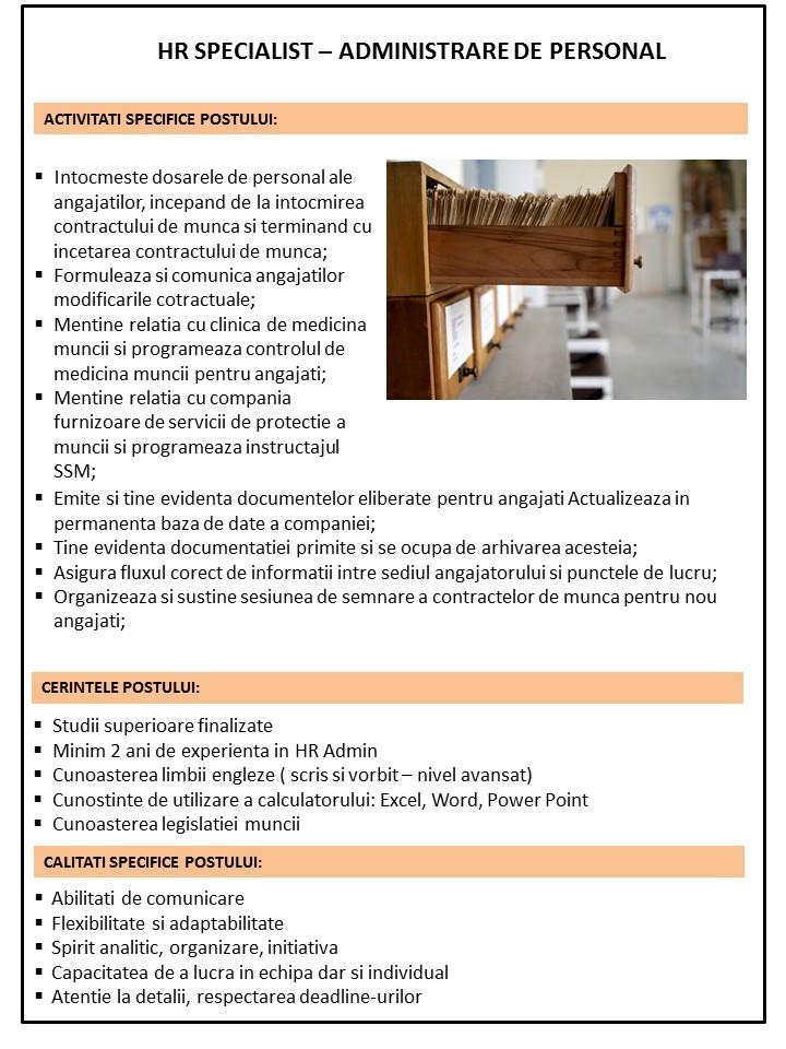 Anunt Specialist resurse umane - Administrare