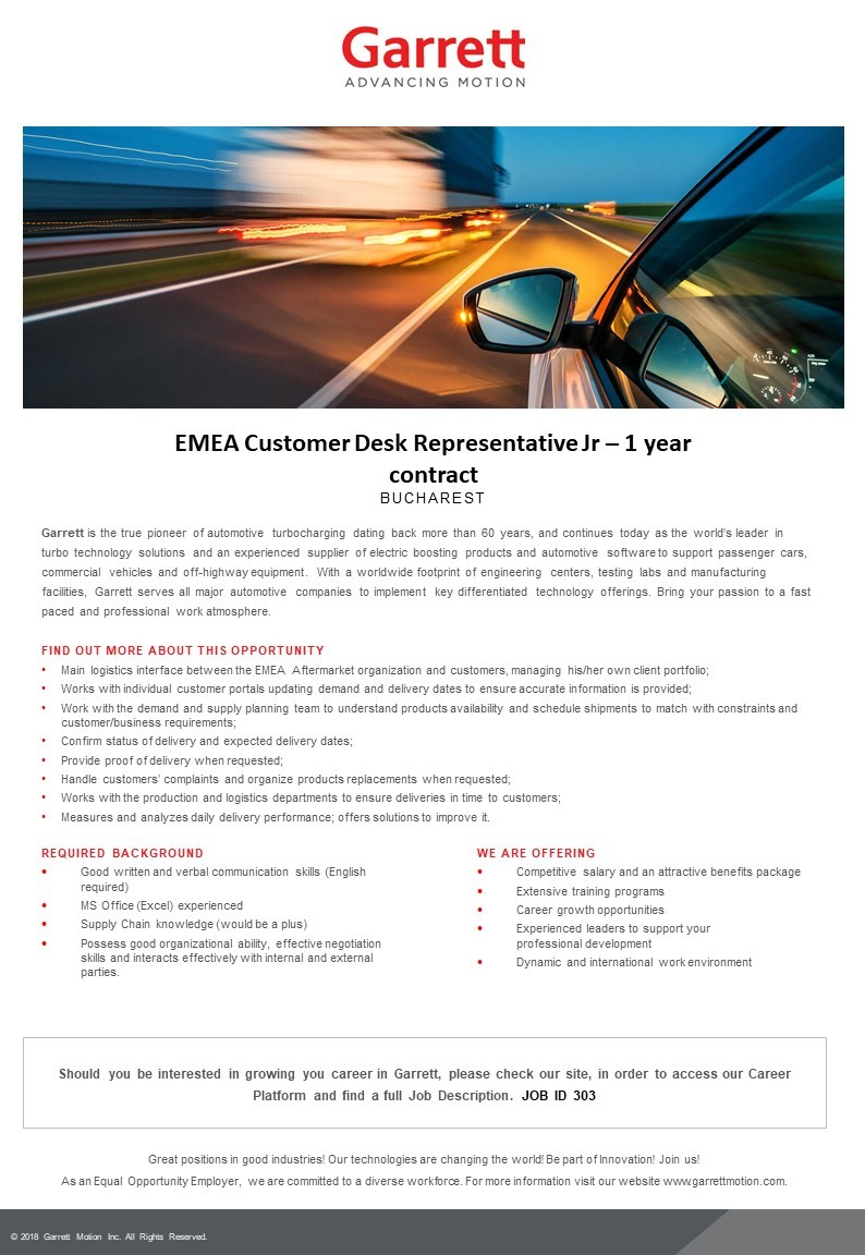 EMEA Customer Desk Representative Jr