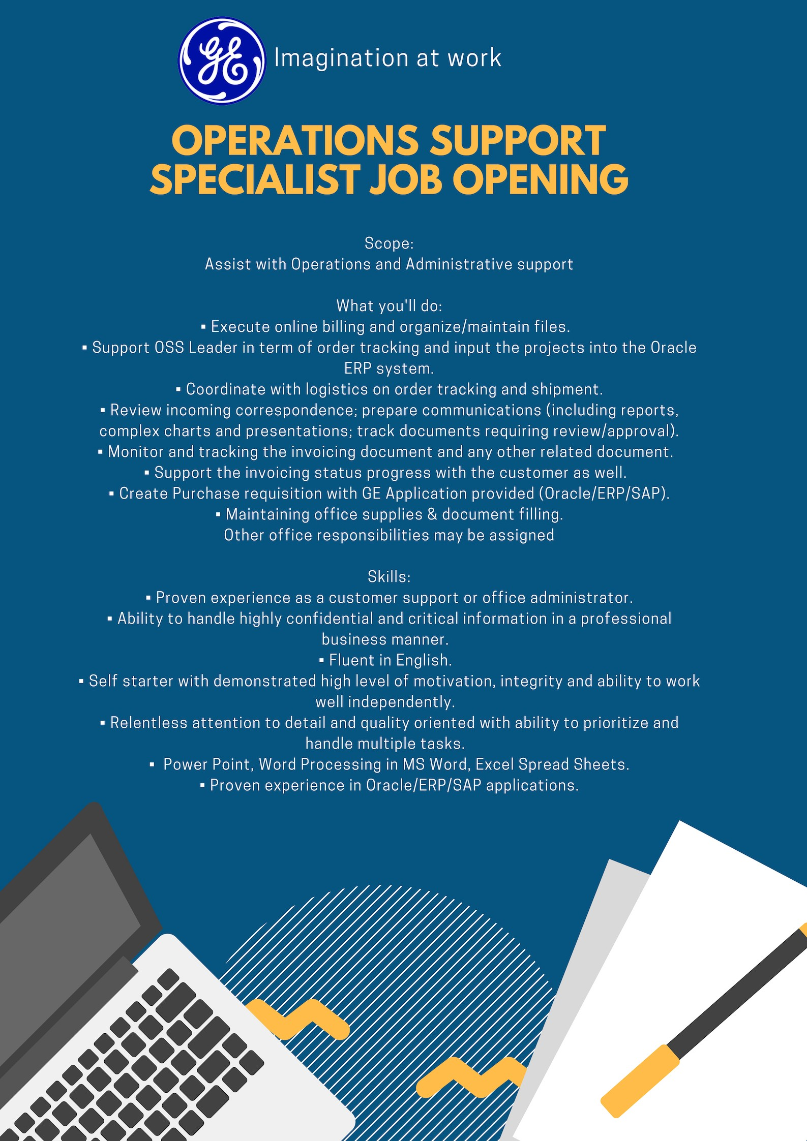 Operations support specialist job opening