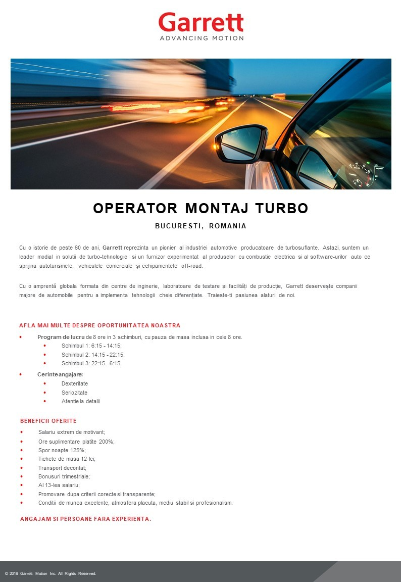 Operator Montaj Turbo - JD