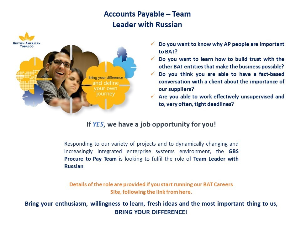 Accounts Payable - Team Leader with Russian