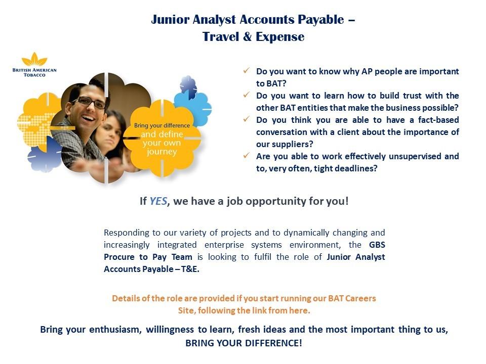 Junior Analyst AP - T&E