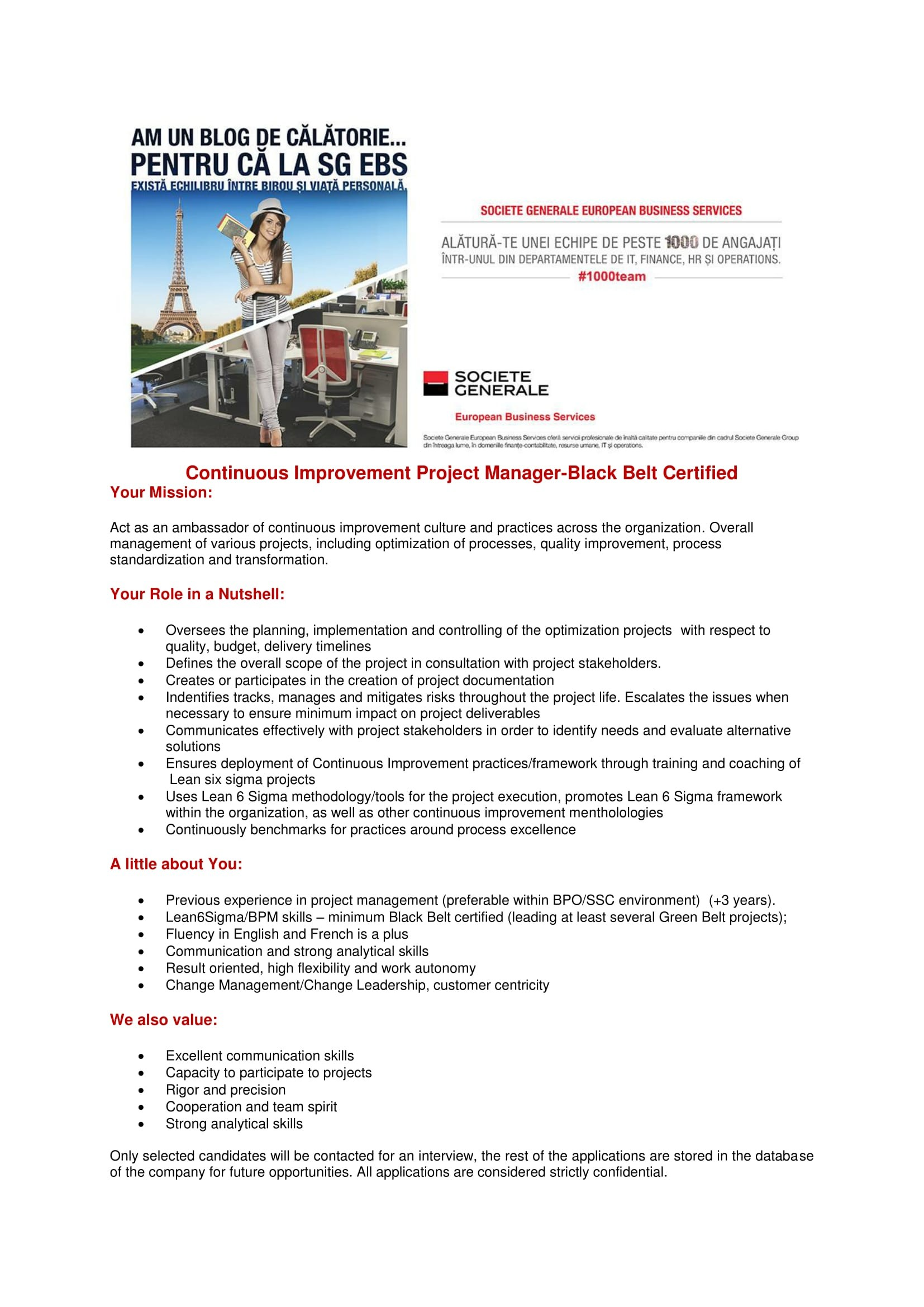 Continuous Improvement Project Manager Black Belt-site EBS-1