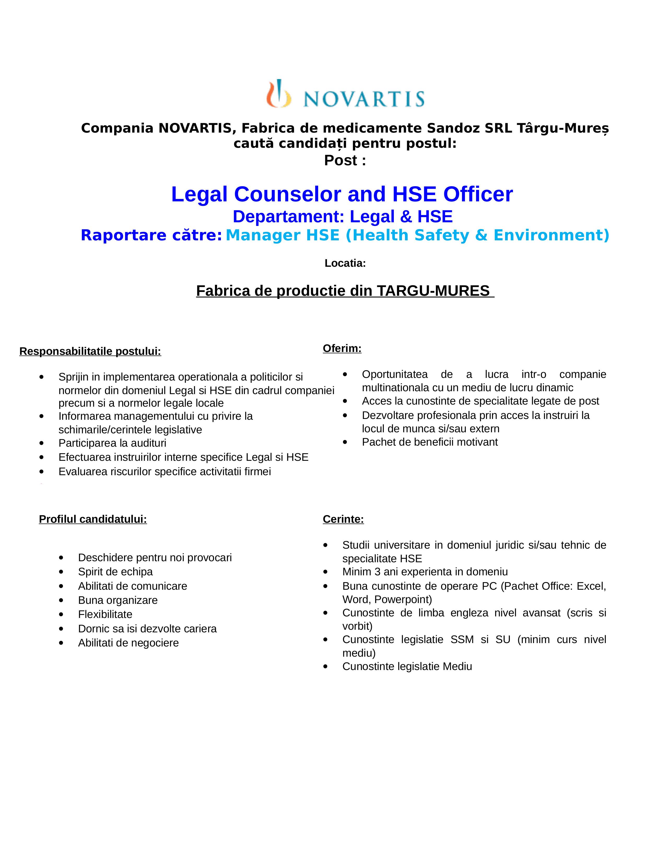 Anunt job - Officer HSE 2018