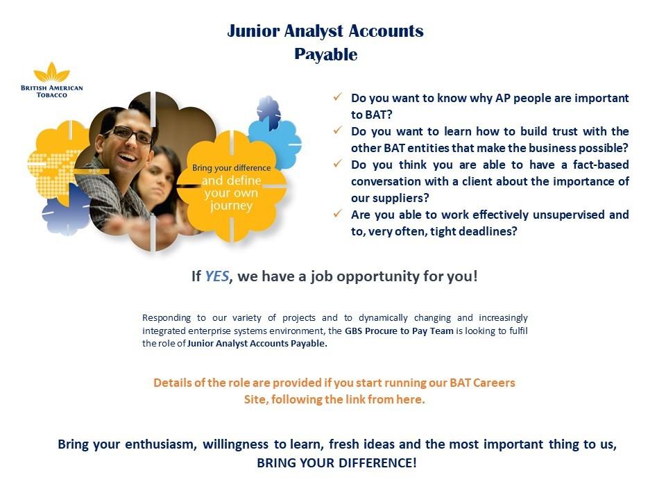 Junior Analyst Accounts Payable