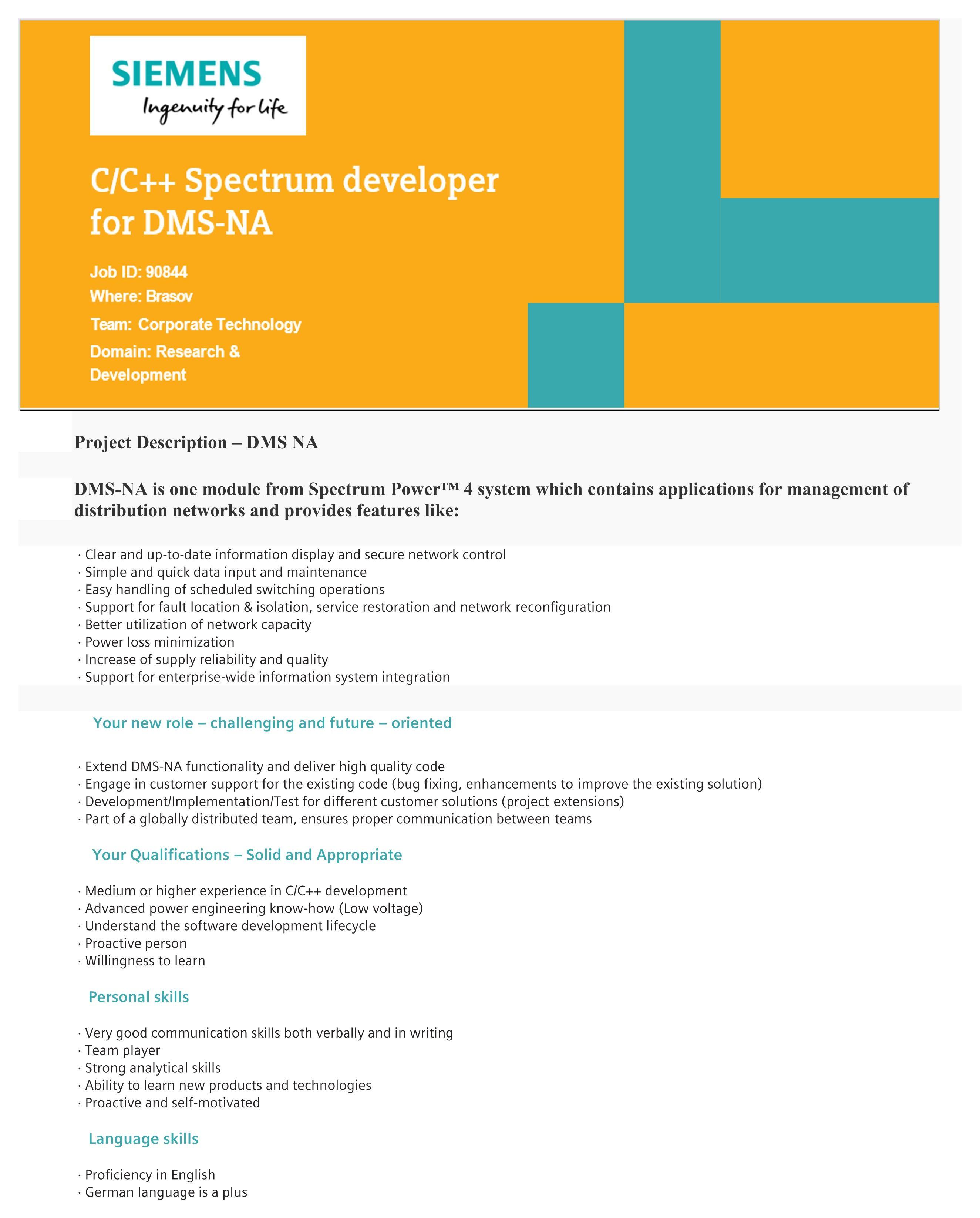 Spectrum developer for DMS-NA