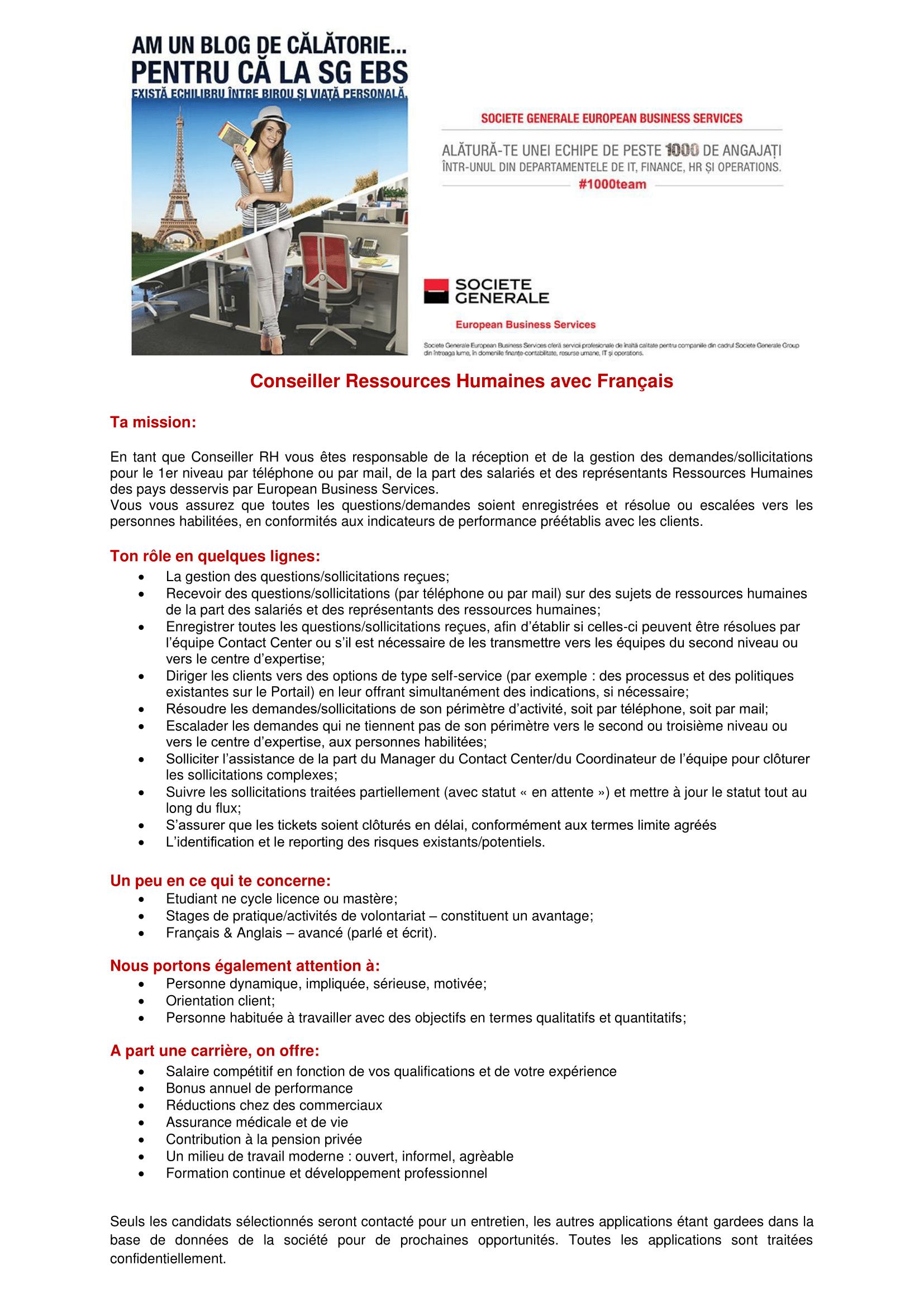Conseiller Ressources Humaine avec Français avancé - site-uri de recrutare-1