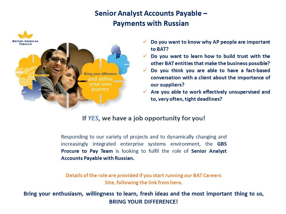 Senior Analyst Accounts Payable  - Payments with Russian