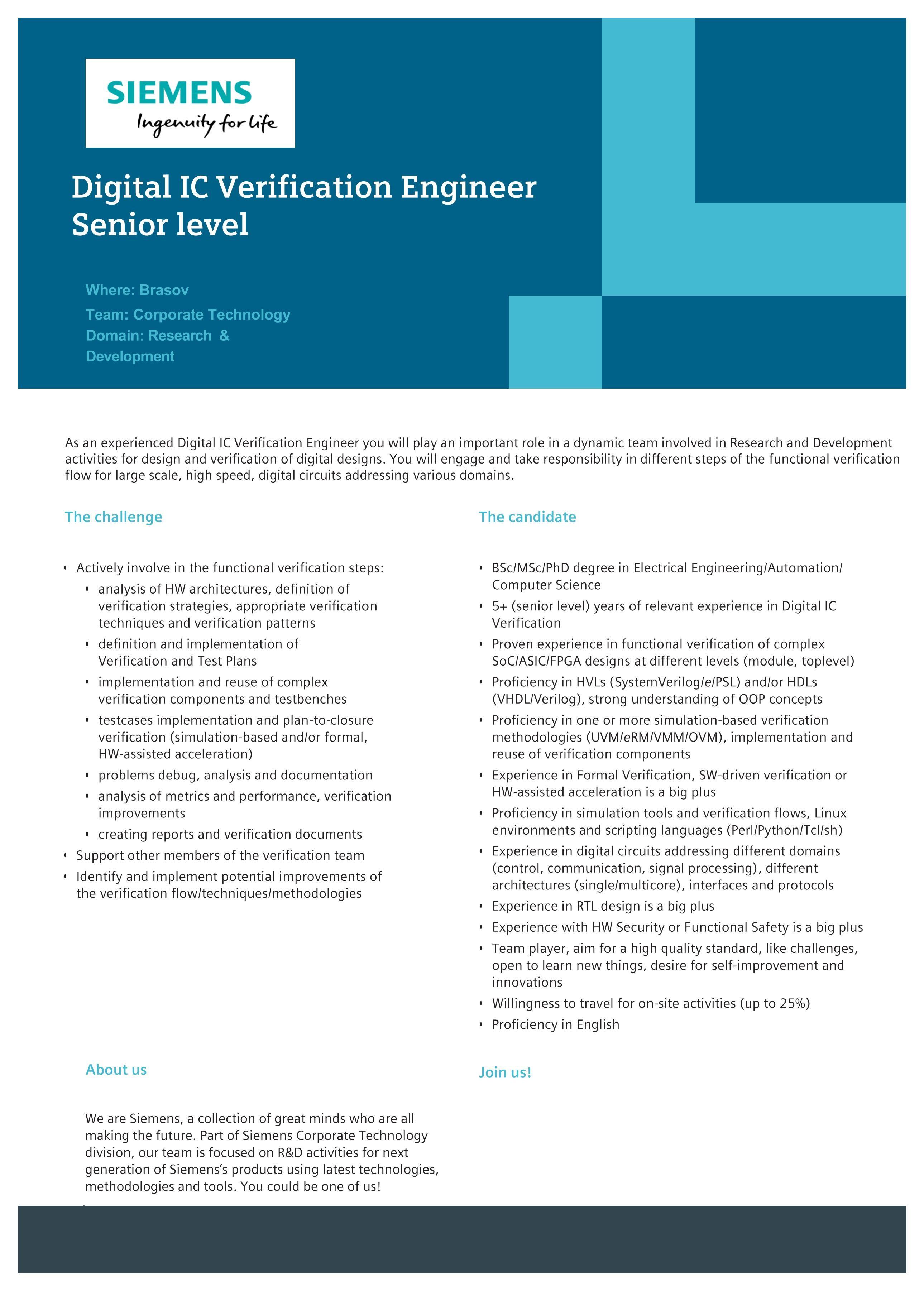 Digital IC Verification Engineer  Senior level 2019