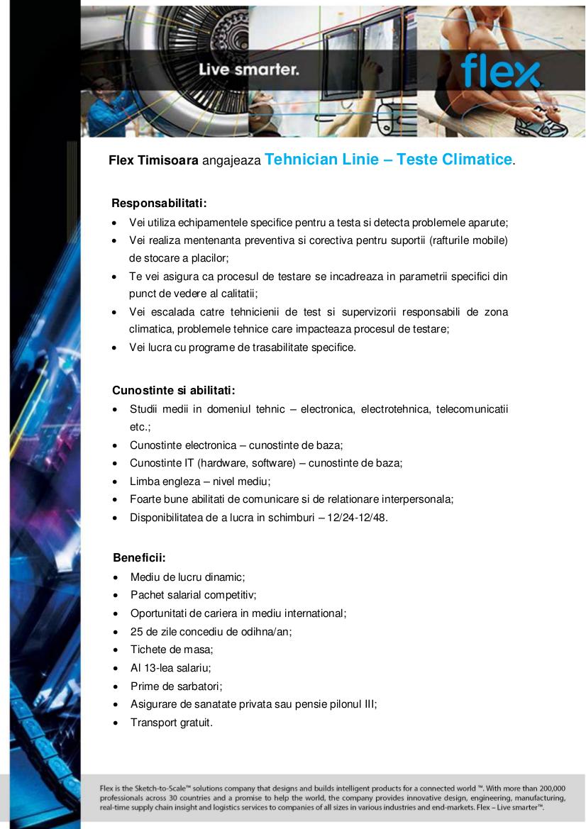 Anunt extern - Tehnician Linie - Teste Climatice