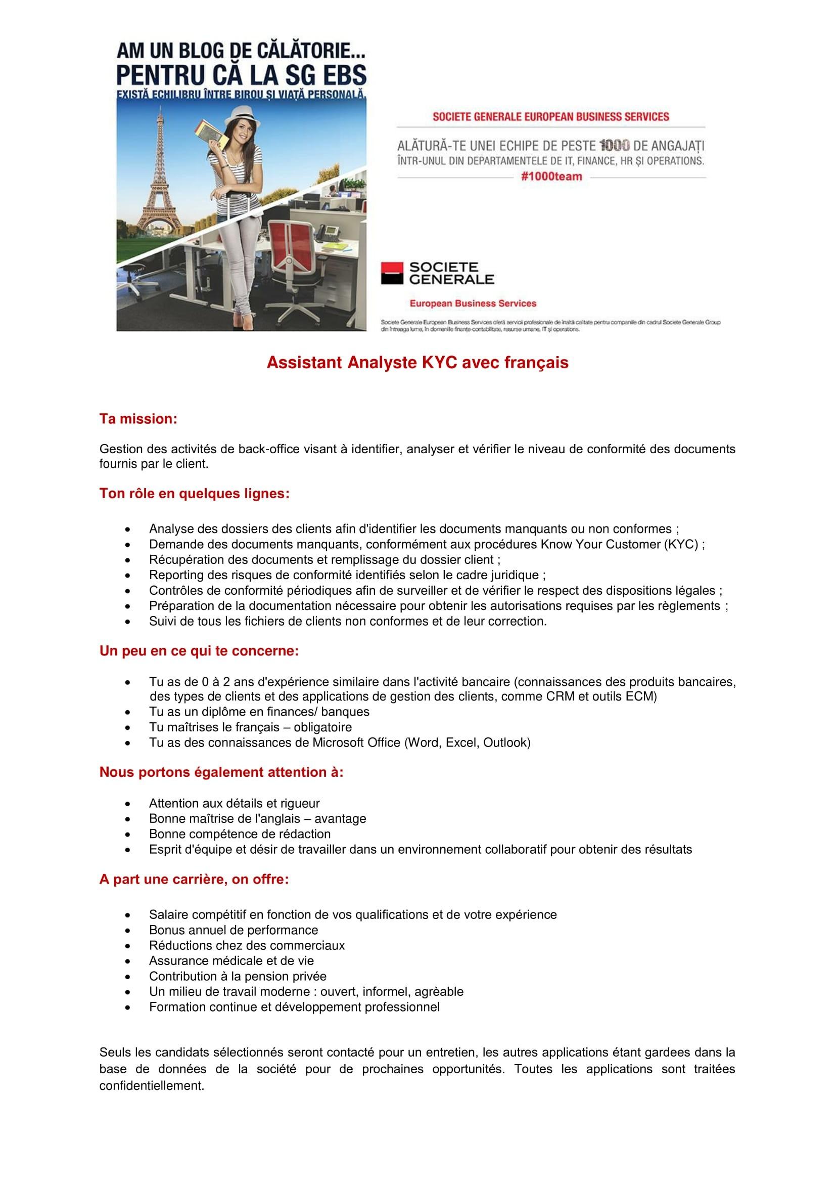 Assistant Analyste KYC avec français - site-uri de recrutare-1