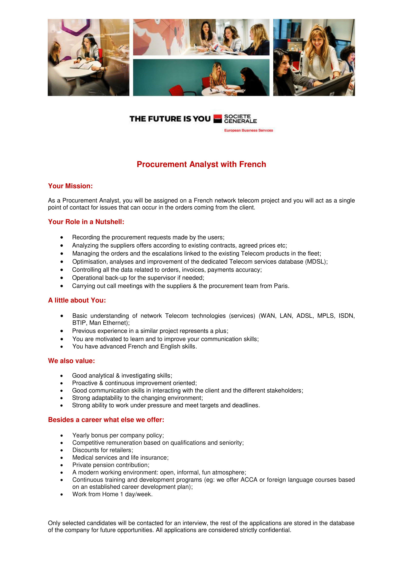 ProcurementAnalyst with French - Telecom Project