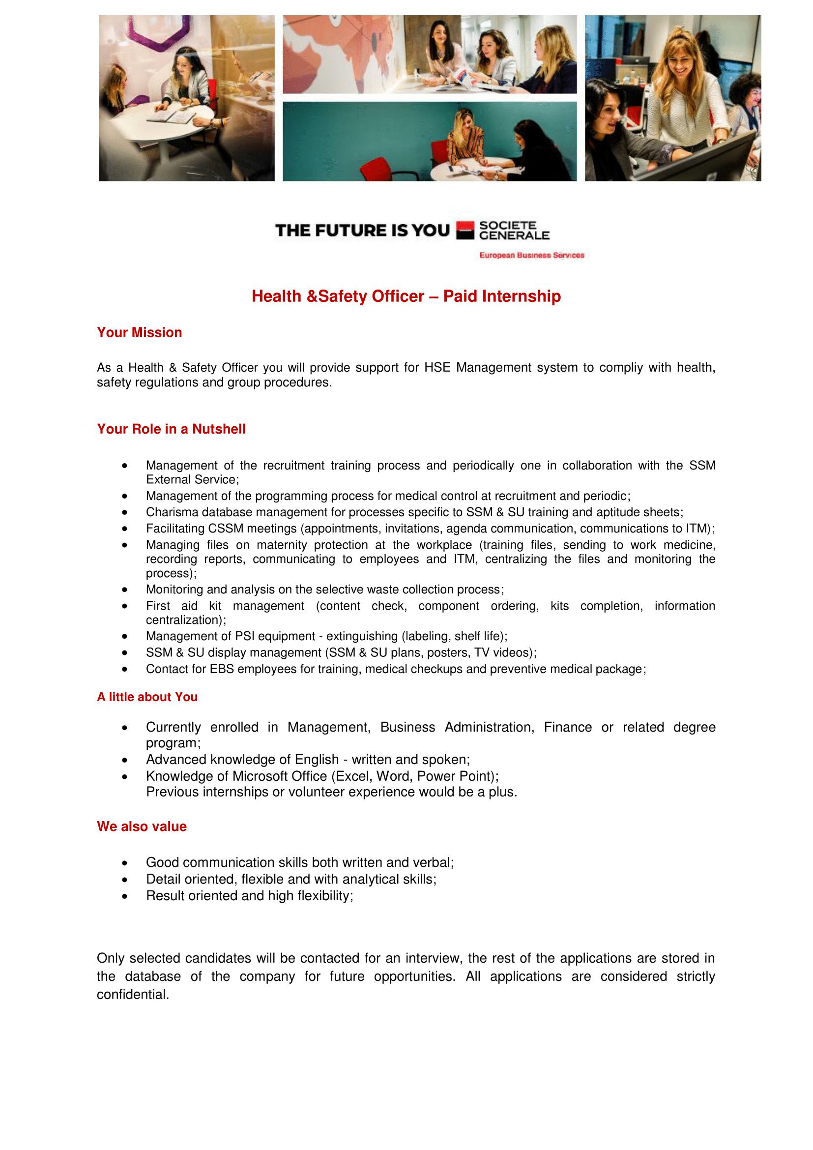 Health Safety Specialist - Paid Internship-1