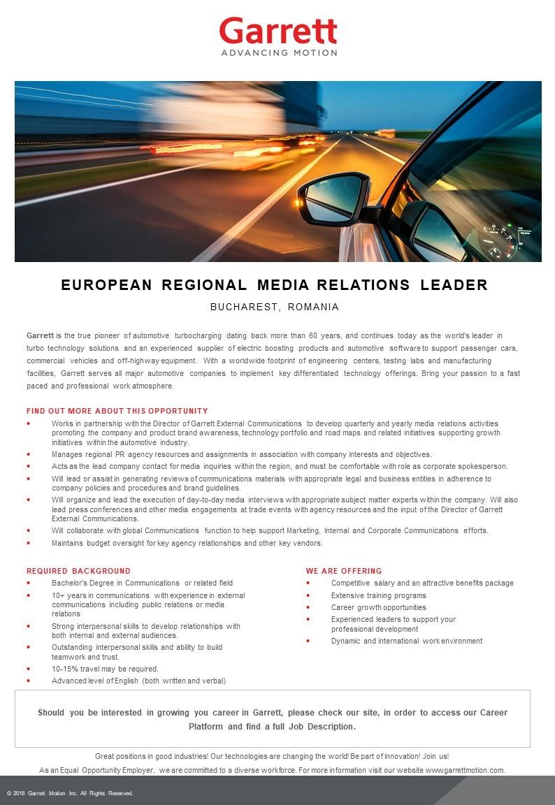 European Regional Media Relations Leader