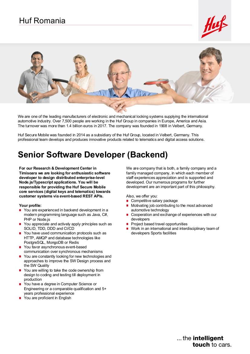 Senior Software Developer Backend