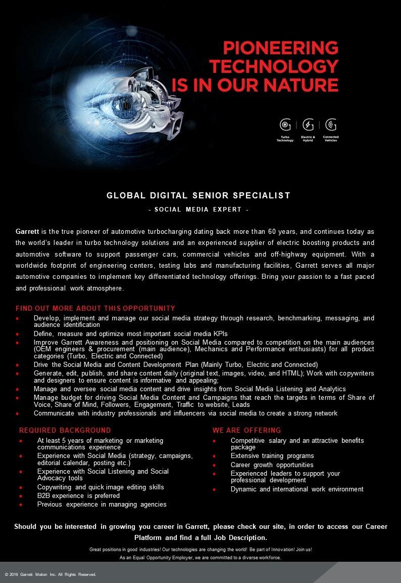 Global Digital Senior Specialist - Social Media