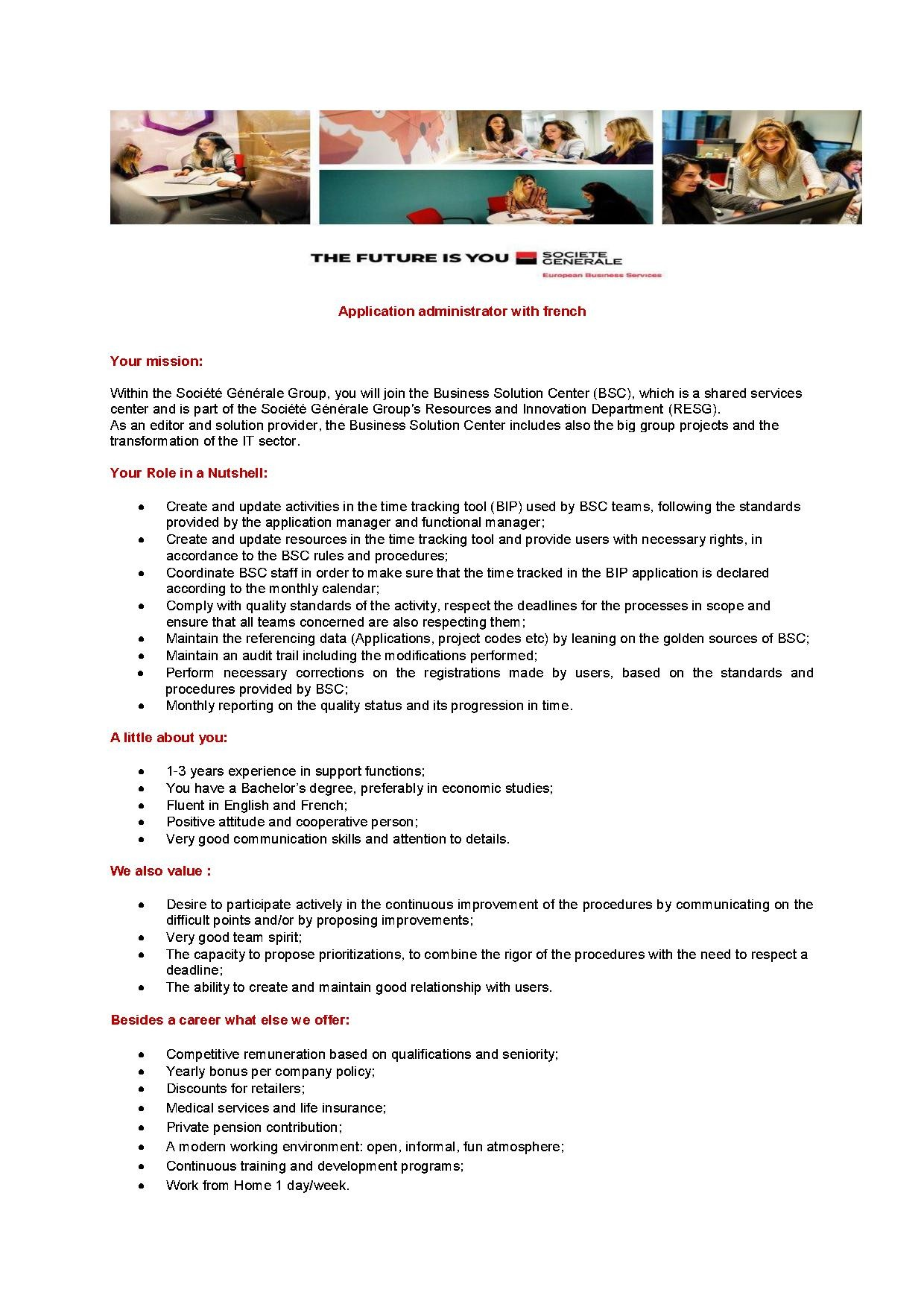 Application administrator with french
