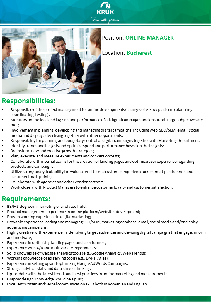 Anunt recrutare Online Manager
