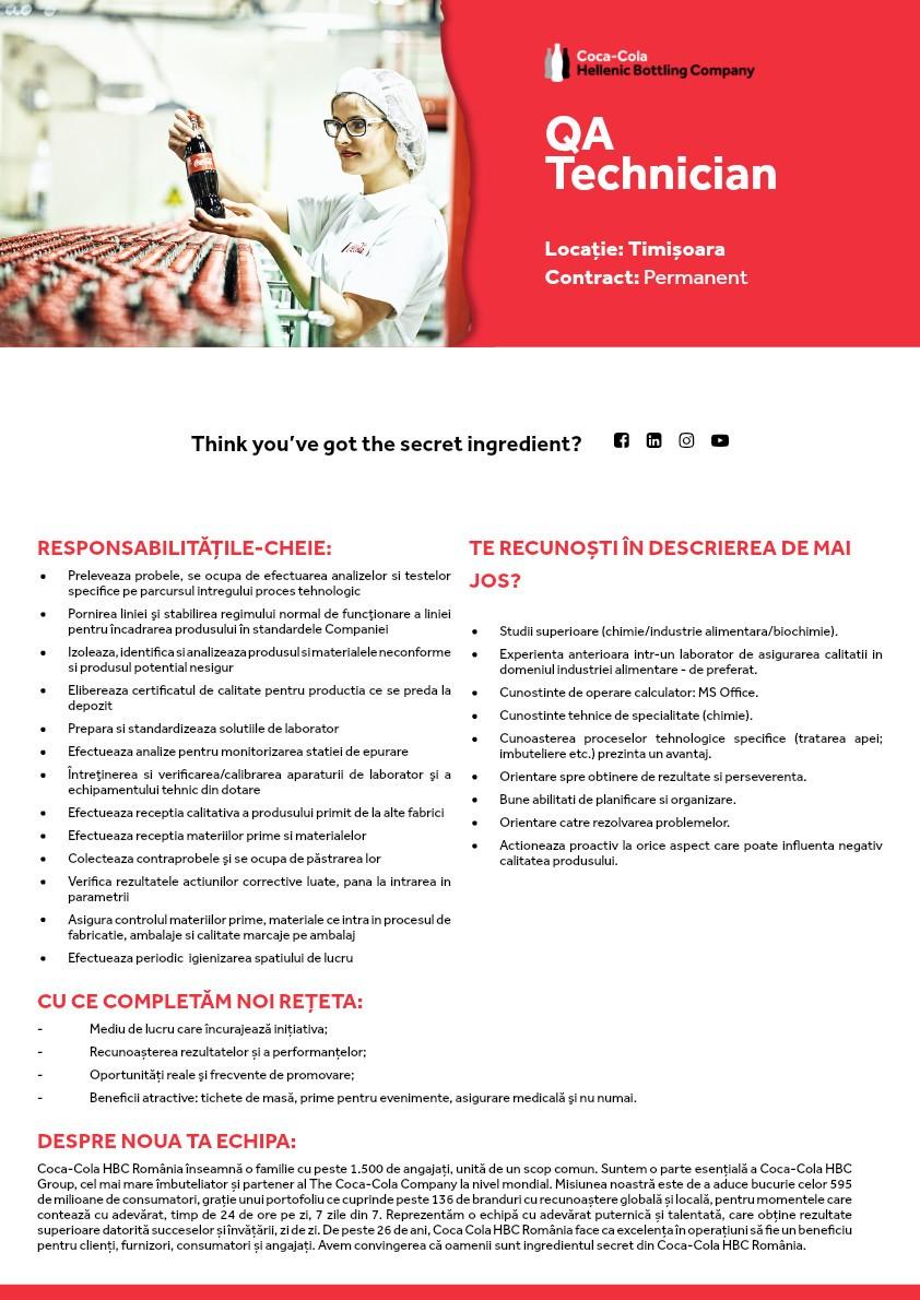 QA Technician Timisoara - Permanent