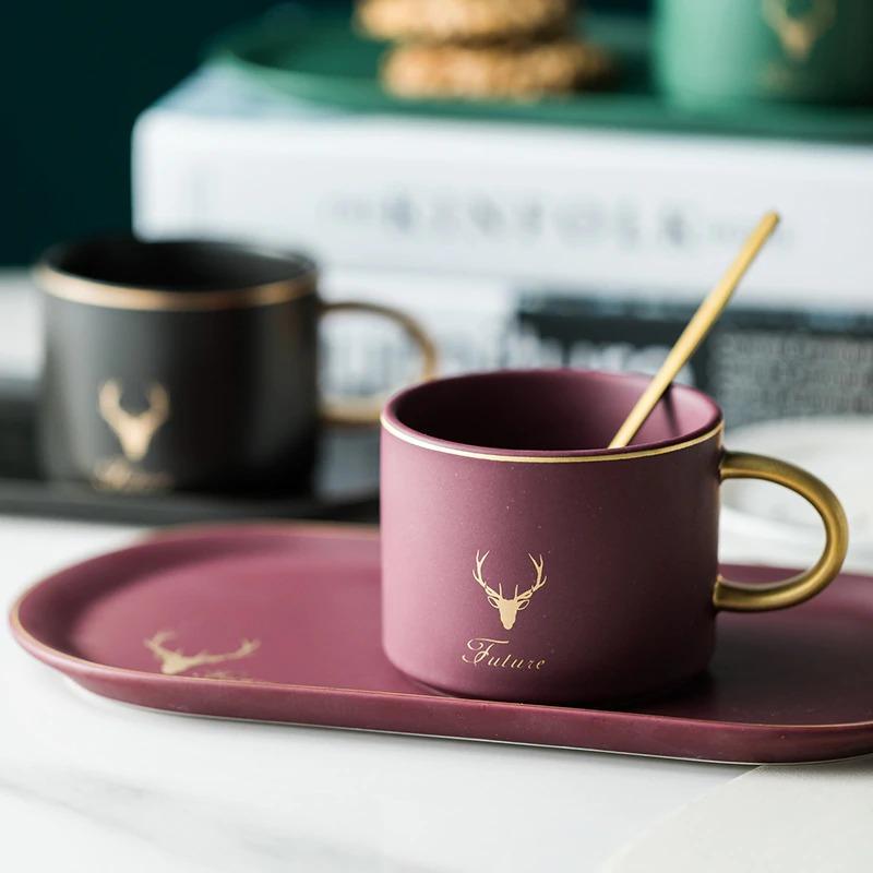 Gold Rimmed Coffee Mug Set - 2